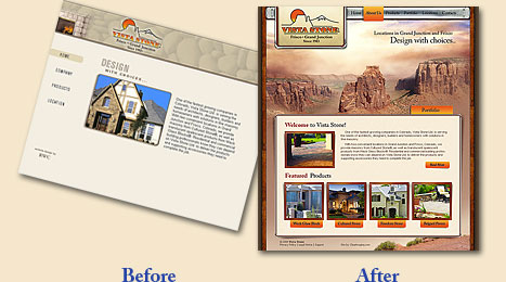 Website Before and After samples from Envision Web Solutions in Centreville Md